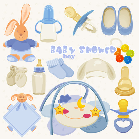 Boy baby shower set of elements for design in blue color Vector