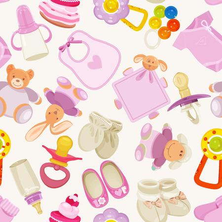 recien nacido: sin patrón, con artículos de bebé de colores para niña recién nacida Vectores