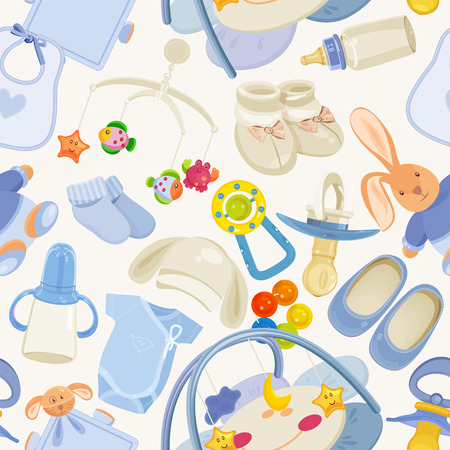 seamless pattern with colorful baby items for newborn boy Vector
