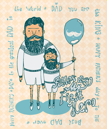 Dad and Son enjoying walk together with balloon on colorful decorated beige background for Happy Fathers Day celebrations.