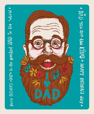 Super Dad on decorated hipster background with stylish text 'I love Dad'. Banco de Imagens - 113564150