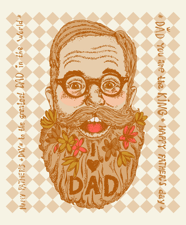 Super Dad on decorated hipster background with stylish text 'I love Dad'. Banco de Imagens - 113564152