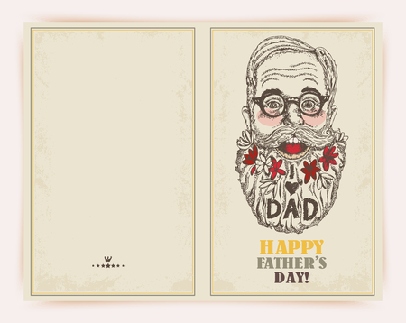 Super Dad on decorated hipster background with stylish text 'I love Dad'. Banco de Imagens - 113564153
