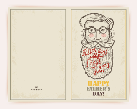 Super Dad on decorated hipster background with stylish text Father is my first Hero.