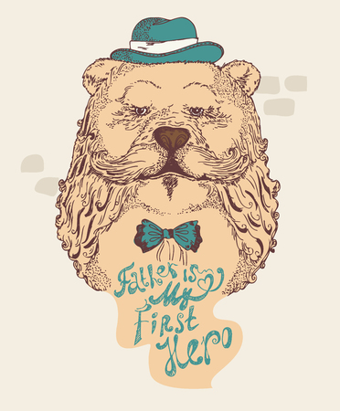 Super Dad bear on decorated hipster background with stylish text Father is my first Hero. 일러스트