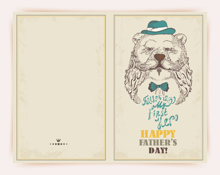 Super Dad bear on decorated hipster background with stylish text Father is my first Hero. Ilustração