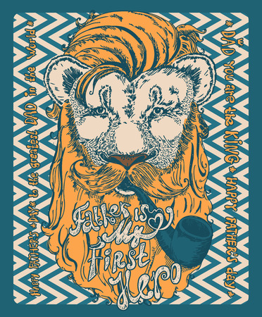Super Dad lion on decorated hipster background with stylish text Father is my first Hero. Ilustração