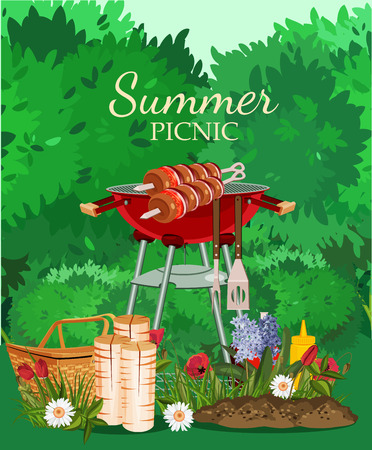 Vector illustration family picnic. Summer spring barbecue and picnic icons set. Vintage style. Snacks vegetables healthy food. Party items decorations. Romantic dinner lunch for lovers outdoors. 向量圖像