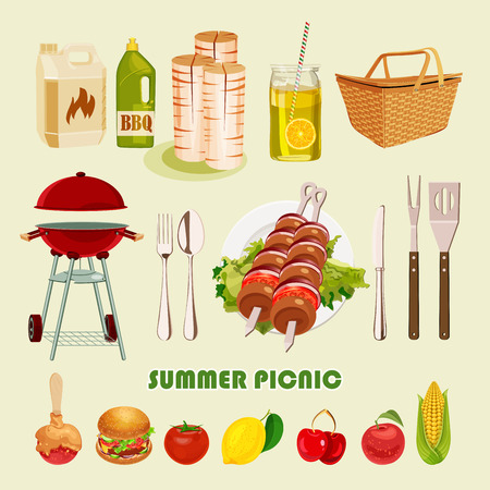 picnic blanket: Vector illustration family picnic. Summer spring barbecue and picnic icons set. Vintage style. Snacks vegetables healthy food. Party items decorations. Romantic dinner lunch for lovers outdoors. Illustration