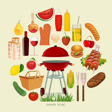 Vector illustration family picnic. Summer spring barbecue and picnic icons set. Vintage style. Snacks vegetables healthy food. Party items decorations. Romantic dinner lunch for lovers outdoors. Vector