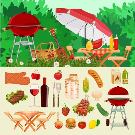 벡터 일러스트 레이 션 가족 소풍입니다. 여름 봄 바베 큐와 피크닉 아이콘을 설정합니다. 빈티지 스타일. 야채 건강 식품을 간식. 파티 용품 장식. 야 일러스트