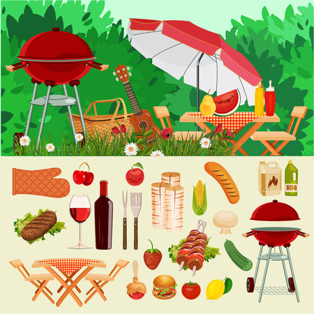 spring season: Vector illustration family picnic. Summer spring barbecue and picnic icons set. Vintage style. Snacks vegetables healthy food. Party items decorations. Romantic dinner lunch for lovers outdoors. Illustration