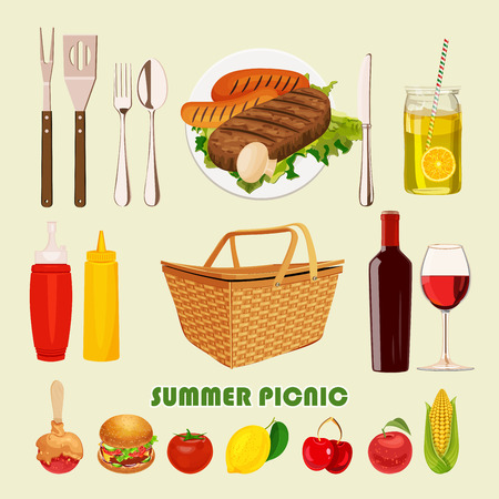 dinner party: Vector illustration family picnic. Summer spring barbecue and picnic icons set. Vintage style. Snacks vegetables healthy food. Party items decorations. Romantic dinner lunch for lovers outdoors. Illustration