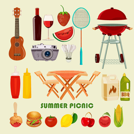 Vector illustration family picnic. Summer spring barbecue and picnic icons set. Vintage style. Snacks vegetables healthy food. Party items decorations. Romantic dinner lunch for lovers outdoors. Ilustração