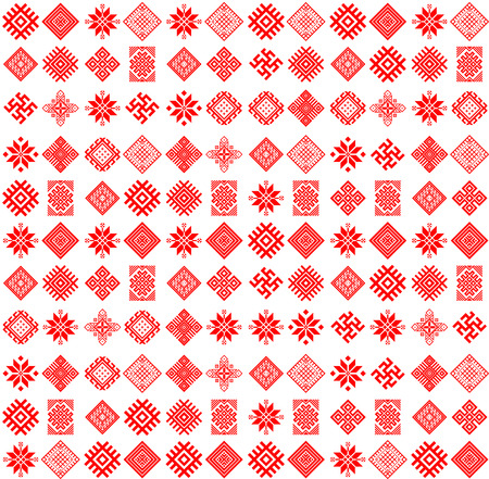 Vector tribal art ethnic seamless pattern with slavic icons. Folk abstract geometric repeating background texture. Fabric design. Wallpaper