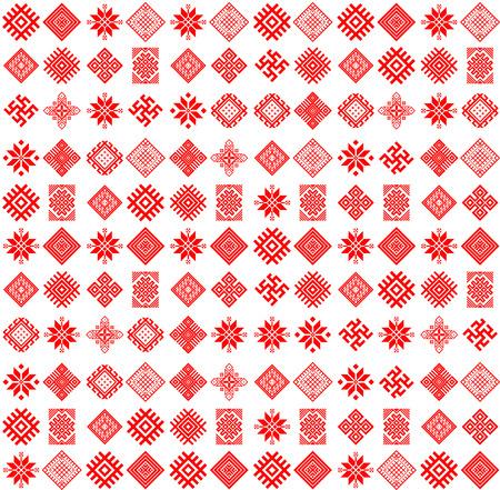 slavic: Vector art tribale etnico seamless con le icone slavi. Folk astratto geometrico ripetuto texture di sfondo. Design del tessuto. Carta da parati