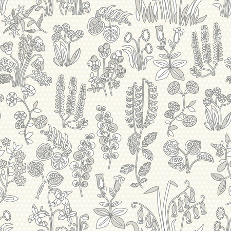 shabby: Vector seamless pattern of little different flowers in Shabby chic style. Provense flowers. Scrap booking floral seamless background.