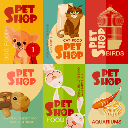 Vintage pet shop poster design. Set Illustration