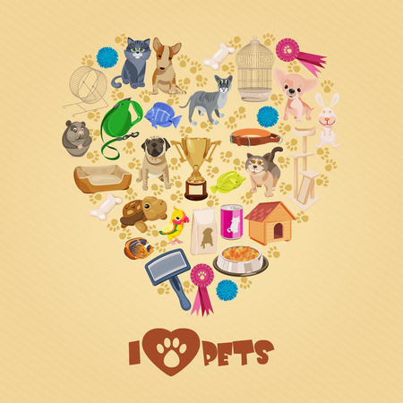 Pet shop background with pets.