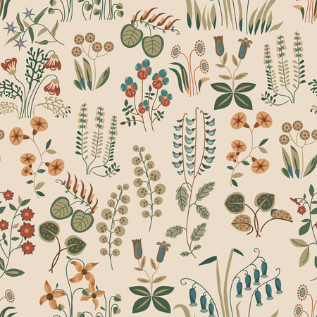 romanticist: Vector seamless pattern of little different flowers in Shabby chic style. Provense flowers. Scrap booking floral seamless background.