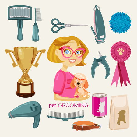 pet grooming: Pet Grooming Vectores