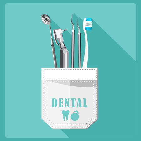 Dental care symbols. Teeth dental care mouth health set with inspection dentist treatment isolated vector illustration Ilustração