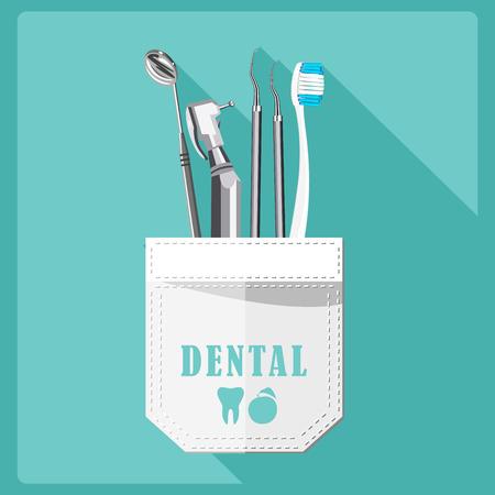 oficina: Símbolos del cuidado dental. La salud de los dientes boca cuidado dental fija con aislados tratamiento dentista inspección ilustración vectorial