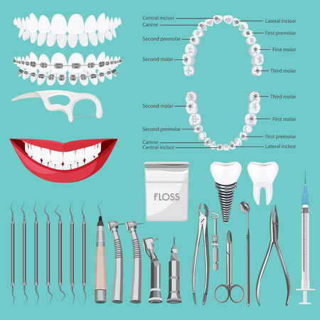 dental braces: Dental care symbols. Teeth dental care mouth health set with inspection dentist treatment isolated vector illustration Illustration