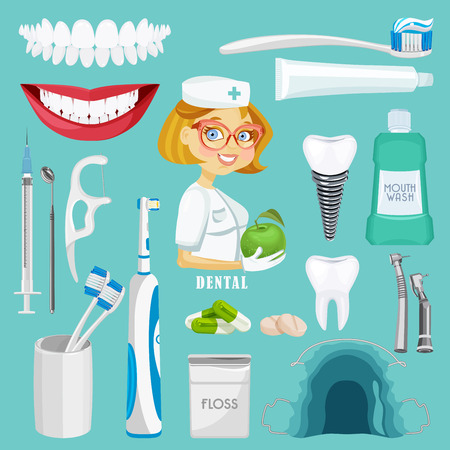 pasta de dientes: Símbolos del cuidado dental. La salud de los dientes boca cuidado dental fija con aislados tratamiento dentista inspección ilustración vectorial