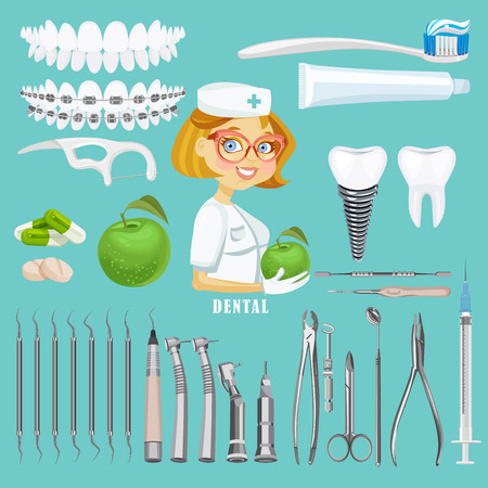 instruments: Dental care symbols. Teeth dental care mouth health set with inspection dentist treatment isolated vector illustration Illustration