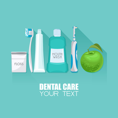 cepillo: Fondo con símbolos de atención dental: cepillo de dientes, pasta de dientes, hilo dental, manzana