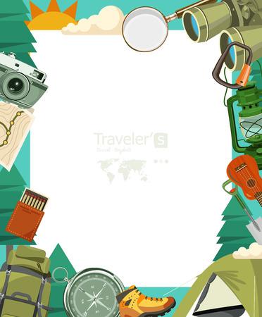 Hiking and camping. Summer landscapes. Vector illustration. Flat design. 向量圖像