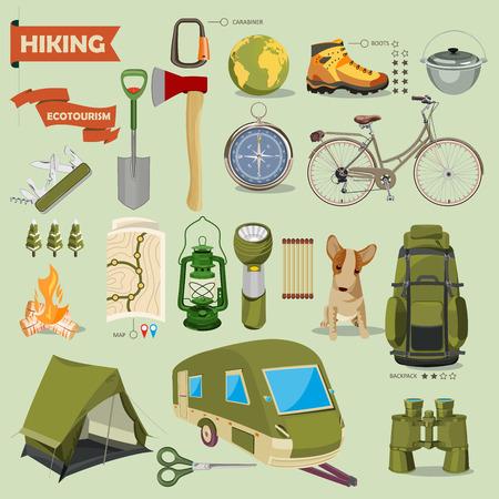 botas: Senderismo y camping. Paisajes de verano. Ilustración del vector. Diseño plano. Vectores