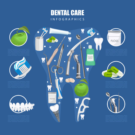 tooth icon: Dentistry infographics. Background with dental care symbols: tooth brush, tooth paste, dental floss, apple Illustration