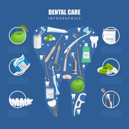 dientes: Infografía Odontología. Fondo con símbolos de atención dental: cepillo de dientes, pasta de dientes, hilo dental, manzana