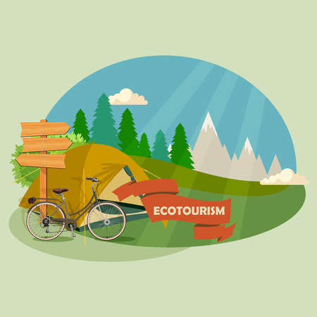 Camping Tent. Summer landscapes. Hiking and camping. Vector illustration