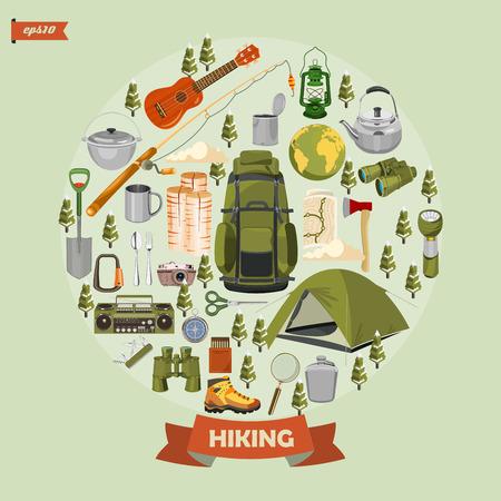 Hiking and camping. Summer landscapes. Vector illustration. Flat design. Ilustracja