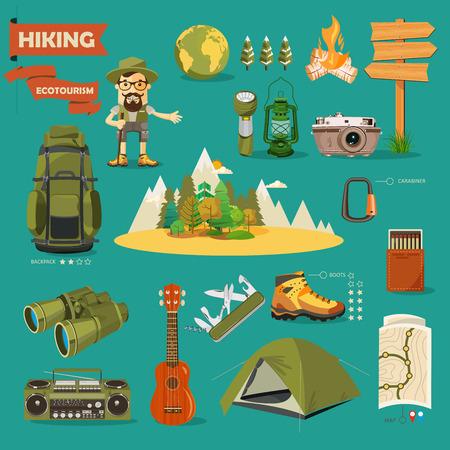 ハイキングやキャンプします。夏の風景。ベクトルの図。フラットなデザイン。