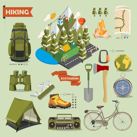 hiking boots: Hiking and camping. Summer landscapes. Vector illustration. Flat and isometric design. Isometry