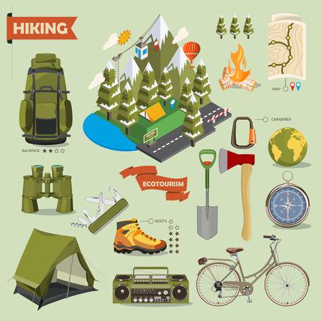 botas: Senderismo y acampada. Paisajes de verano. Ilustración del vector. Diseño plano y isométrica. Isometría Vectores