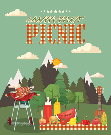 landscape: Vector family picnic illustration. Food and pastime objects on green background. Barbecue object, picnic items. Creative banner with food and nature. Illustration