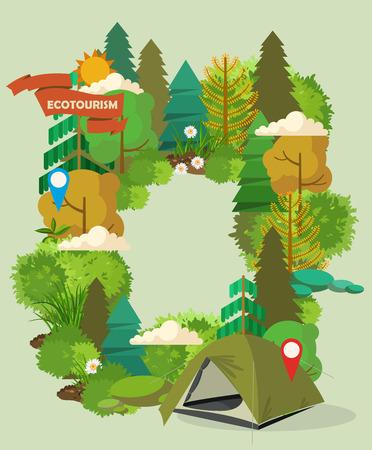 Hiking and camping. Summer landscapes. Vector illustration. Flat design. Illustration