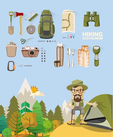 hiking: Hiking and camping. Summer landscapes. Vector illustration. Flat design. Illustration