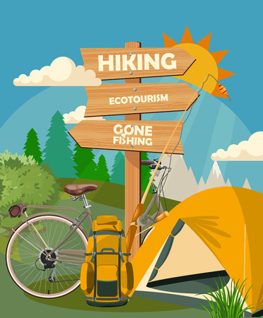 Hiking and camping. Summer landscapes. Vector illustration. Flat design. Vettoriali