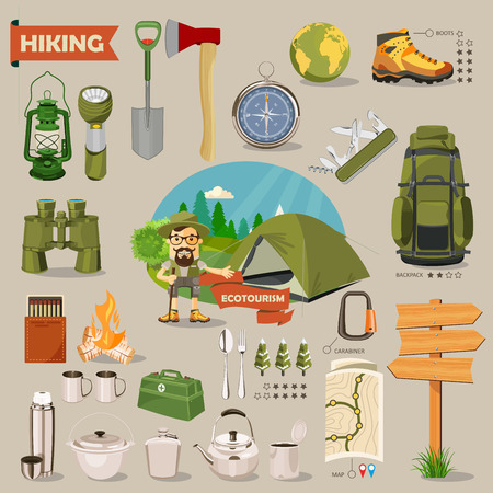 Hiking and camping. Summer landscapes. Vector illustration. Flat design. Иллюстрация