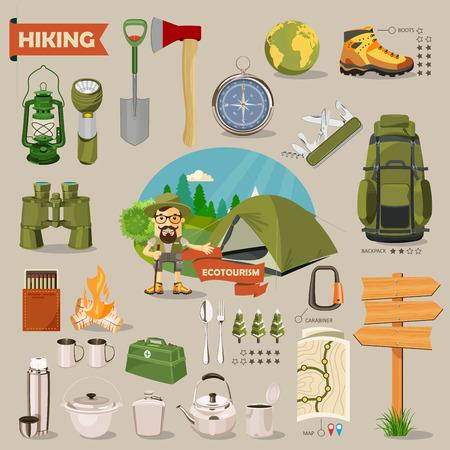 Hiking and camping. Summer landscapes. Vector illustration. Flat design. Vectores