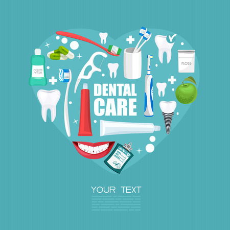 tooth: Dental care symbols in the shape of heart. Dental floss, teeth, mouth, tooth paste on blue background