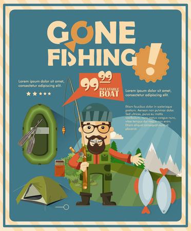 barca da pesca: Manifesto di pesca con la barca e pescatori design piatto