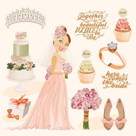 tiara: Vector vintage set of decorative wedding elements in vintage style Illustration