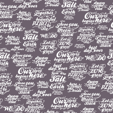 Retro seamless pattern with inscriptions about love for wedding invitation, paper, fabric and other printing, web projects.